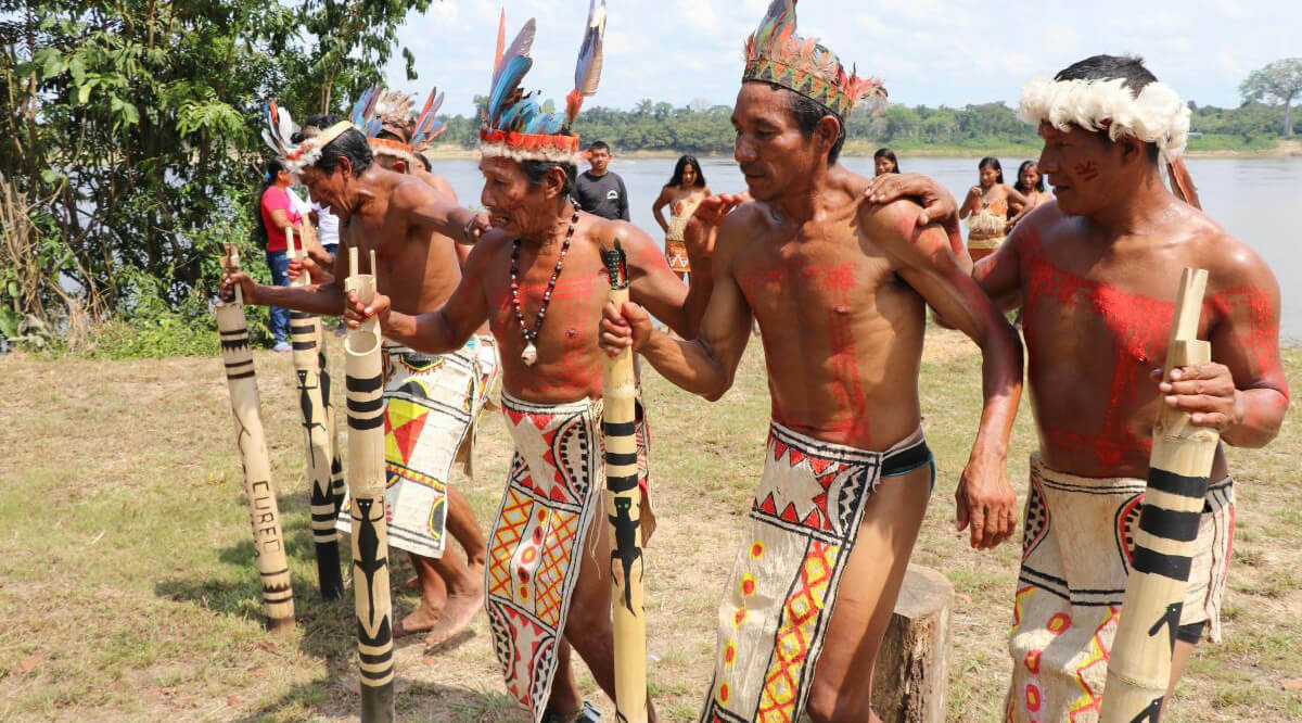 Colombian amazon indigenous peoples dancing