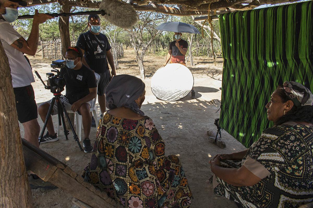 Crew filming indigenous peoples