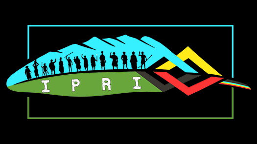 Multiple illustrated people standing in front of a mountain with the letters I P R I on the bottom