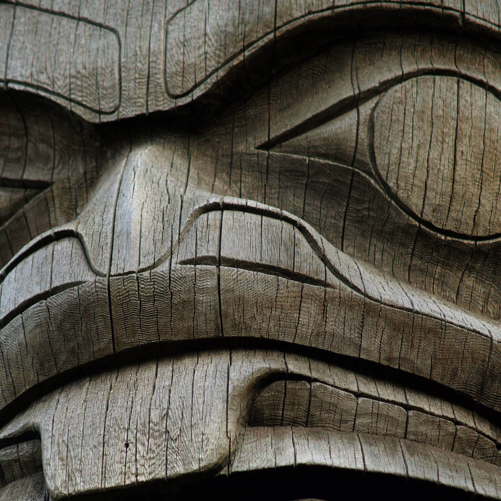 a close up view of a wooden carved totem pole animal face