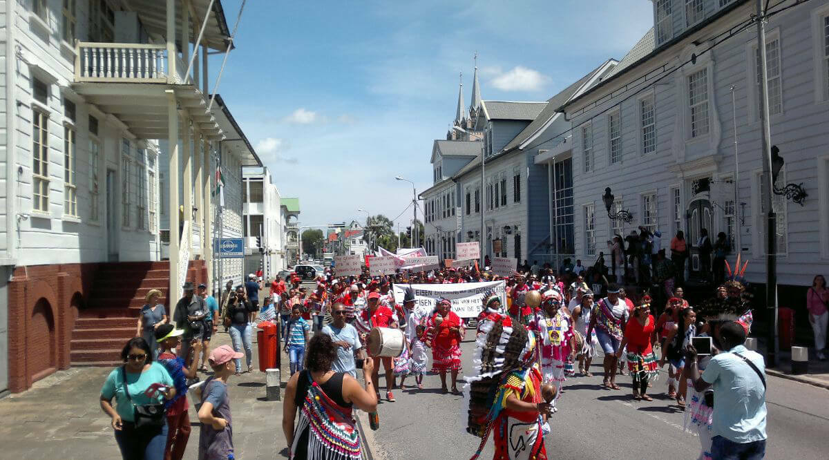 Indigenous peoples in Paramaribo streets