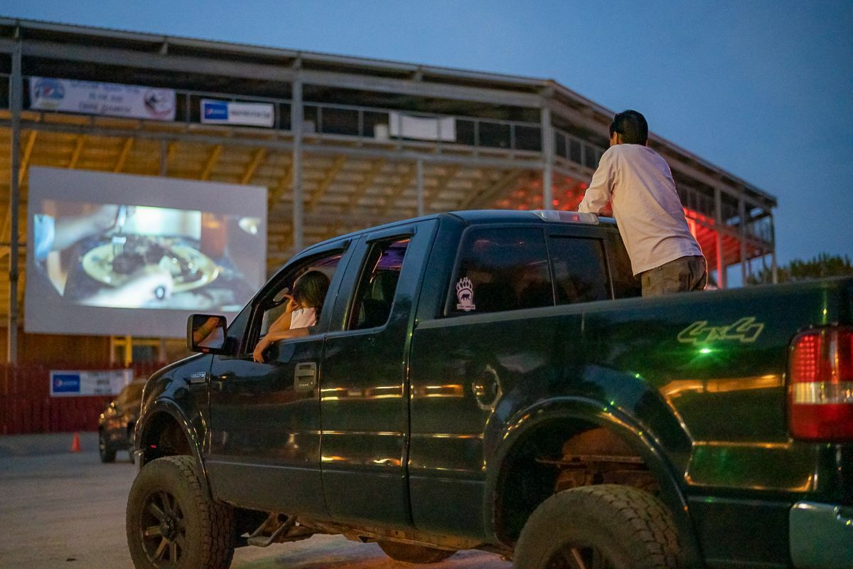 Pickup truck at a drive in movie