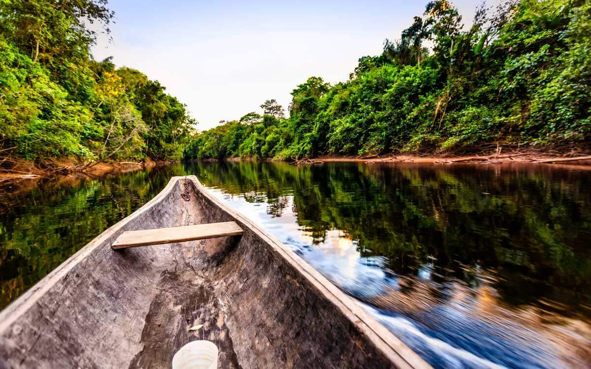 Canoe in a river surrounded by forest